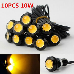10 Pcs Eagle Eye Cob Led Car Daytime Running Drl Tail Head Light Backup Amber