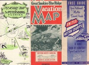 North Carolina Pennsylvania Florida Travel Maps Guide 1950 S 062217nondbe