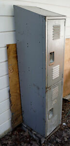 Vintage Antique Lyon Metal Product Two Door Storage Locker