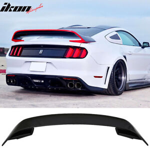 Fits 15 19 Ford Mustang Gt350 Style V2 Rear Black Trunk Abs Spoiler Wing