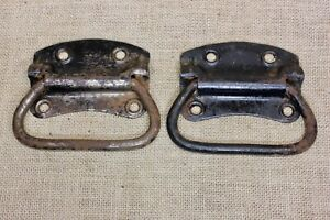 2 Old Tool Box Drop Handles Drawer Pulls Rustic Rusty Steel 4 7 8 Vintage