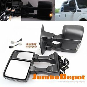 Power Heated Towing Mirrors W Signal Light Fit Ford F250 Super Duty 1999 2007