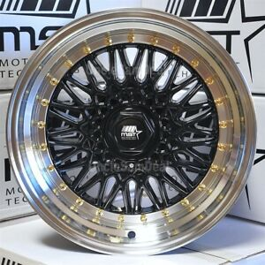 15x8 4x100 4x108 20 Mst Mt13 Black Mesh Silver Lip Gold Rivet Wheels Set Of 4