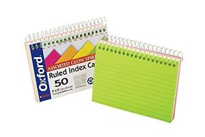 Oxford Spiral Ruled Index Cards 3 X 5 Assorted Neon 50 Cards pack 2 Packs