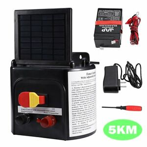 5km Solar Power Electric Fence Energiser Energizer Charger Livestock Horse Farm