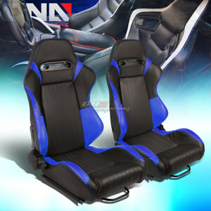 Black blue Reclinable Pvc Vertical Stitching Racing Seats W universal Sliders