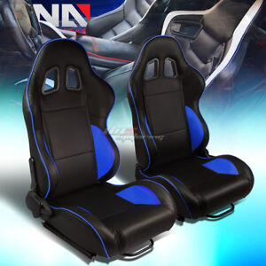 Black blue Piping Reclinable Pvc Leather Type r Racing Seats W universal Slider
