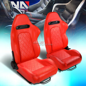 Red Quited Stitch Pattern Reclinable Pvc Leather Type r Racing Seats W sliders