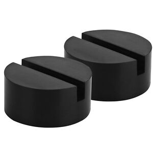 2x Slotted Frame Rail Pinch Weld Floor Rubber Racing Disk Jack Stand Pad Adapter