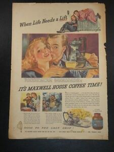 Vintage 1944 Maxwell Coffee Good To The Last Drop Magazine Advertisement Ad