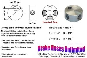 Female Brake Line Tee M10 X 1 Inverted Seat With Mounting Hole