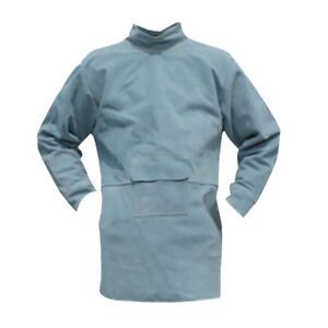 Welding Coat Protective Apparel Suit Cowhide Leather Safety 85cm Blue