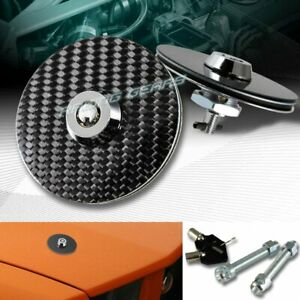 Universal Carbon Fiber Jdm Security Mount Bonnet Hood Pins Latch Kit W Key Lock