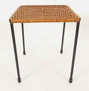 A Charming Small Square Carl Aub Ck Aubock Rattan Wicker Side Table 1950s