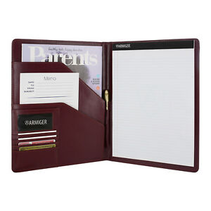 Armiger Executive Bonded Leather Professional Padfolio Notepad Chestnut Brown
