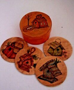 Bentwood Shaker Style Round Box W Coasters Hand Painted Artist Signed