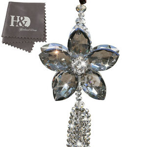 Gray Flower Crystal Suncatcher Prisms Pendants Car Window Hanging Decoration
