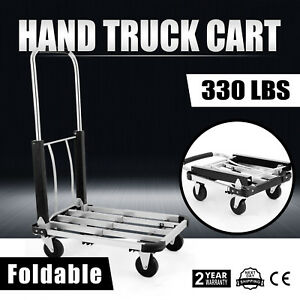 330lb Aluminum Foldable Platform Hand Truck Cart Home Moving Warehouse Portable