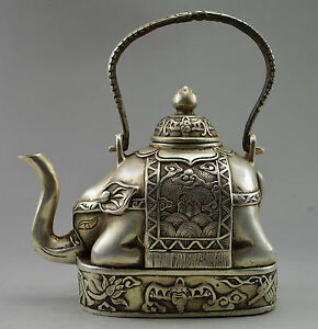 Collectible Decorated Old Handwork Tibet Silver Carve Flower Elephant Tea Pot