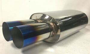 3 Dual Burnt Tip 2 5 Inlet Stainless Steel Weld On Exhaust Muffler Universal