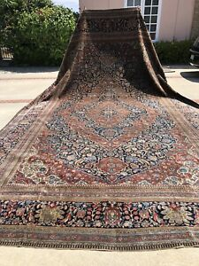 Auth 19th C Antique Mohtashem Kashan Important Collectors Pc Magnificent 12x18
