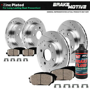 Front Rear Drill Slot Brake Rotors And Ceramic Pads For 1999 2000 Civic Si