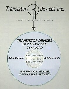Transistor Devices Dlr 50 15 150a Dynaload Operating Service Manual