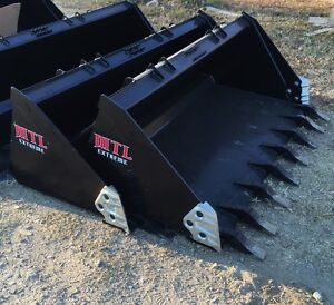 60 Severe Duty Tooth Dirt Bucket W Side Cutters Skid Steer Bobcat ship 149