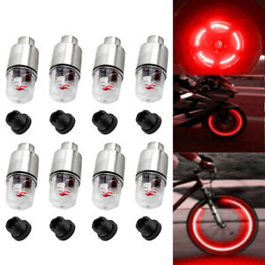 8pcs Led Wheel Tire Tyre Valve Caps Blue Neon Light For Car Motorcycle Bike New