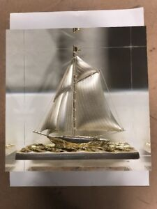 Vintage Sterling Silver Japanese Sailboat In A Solid Resin Block Signed 6x6x3 75