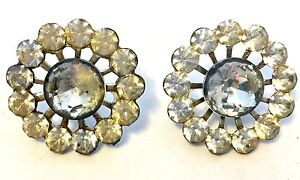 Set Of Two Large Old Vintage Antique Crystal Rhinestone Sewing Buttons Avb250
