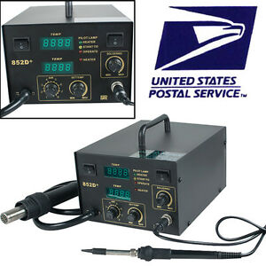 usps Ship 852d Smd Rework Soldering Station Hot Air Iron Desoldering Repair