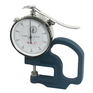 0 10mm Round Dial Teal Color Metal Grip Thickness Gauge Tool