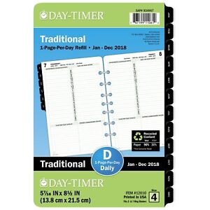 Day timer 12010 Dated One page per day Organizer Refill January december 5 1 2