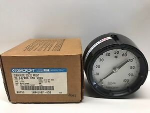 New Old Stock Ashcroft 4 5 0 100 Psi 1 2 Pressure Gauge 45 1279as04b