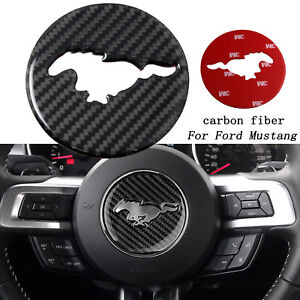 Carbon Fiber Interior Steering Wheel Trim Sticker For Ford Mustang 2015 2017