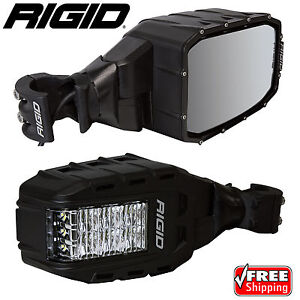 Rigid 64011 Reflect Rear View Mirrors With Led Lights For Rzr Utv Pair