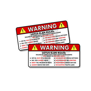 Lotus Elan Rules Warning Safety Instruction Funny Sticker Decal 2 Pack 5