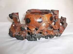 Antique Chinese Hand Carved Soapstone Ink Bowl Brush Rest Brown Birds 7 5 L