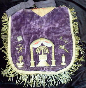 Rare Antique Masonic Fraternal Metallic Embroidery Apron 1800s