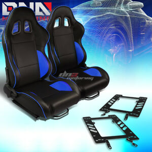 Pair Black Pvc Reclinable Blue Line Racing Seat bracket Fit 79 98 Ford Mustang