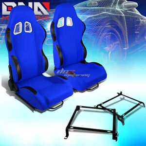 Pair Black Blue Cloth Reclinable Sport Racing Seat Bracket Fit 88 91 Honda Crx