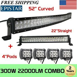 Curved 52inch Led Light Bar 22in 4 Cree Pods Offroad Suv 4wd Atv Vs 52 42 20