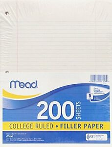 Mead 15326 Filler Paper College Ruled 6 Packs Of 200 Sheets 1200 Sheets