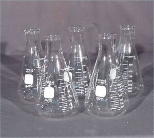 Lot Of 5 Pyrex 4980 1000ml Erlenmeyer Flasks