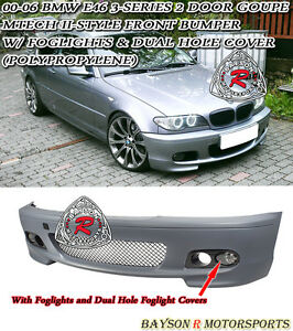 M tech Ii Style Front Bumper Fog Dual Fog Covers Fit 00 06 Bmw E46 2dr Coupe