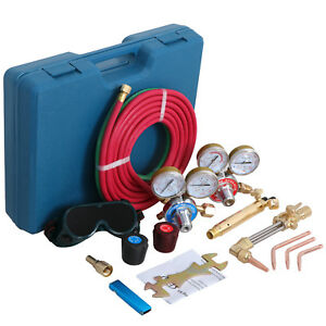 Gas Welding Cutting Kit Oxy Acetylene Oxygen Torch Brazing Fits W hose