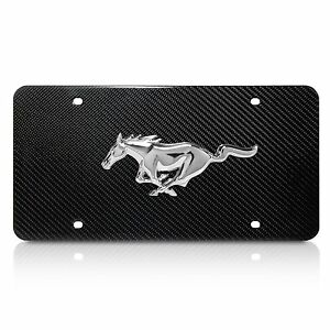Ford Mustang 3d Logo On Real Carbon Fiber License Plate