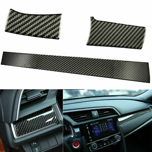 Real Carbon Fiber Dashboard Decal Decor Sticker For Honda Civic 2016 2017