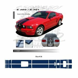 Ford Mustang Gt 2005 2009 W Hood Scoop Stripes Graphic Kit Blue
